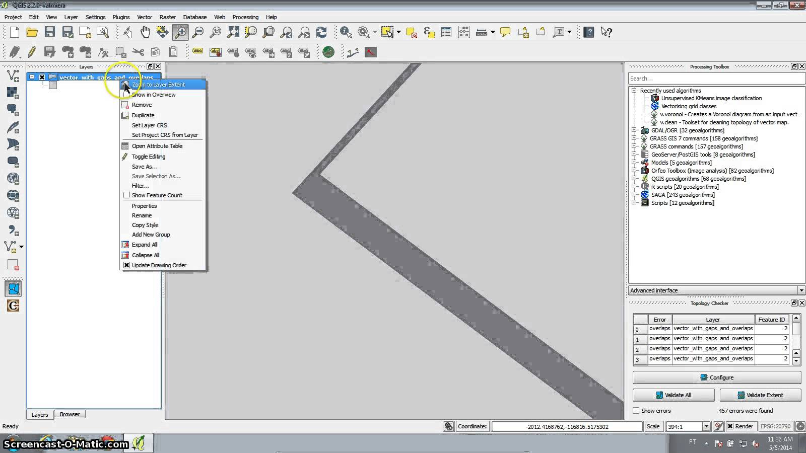 QGIS tutorial : remove overlapping areas and fill gaps with
