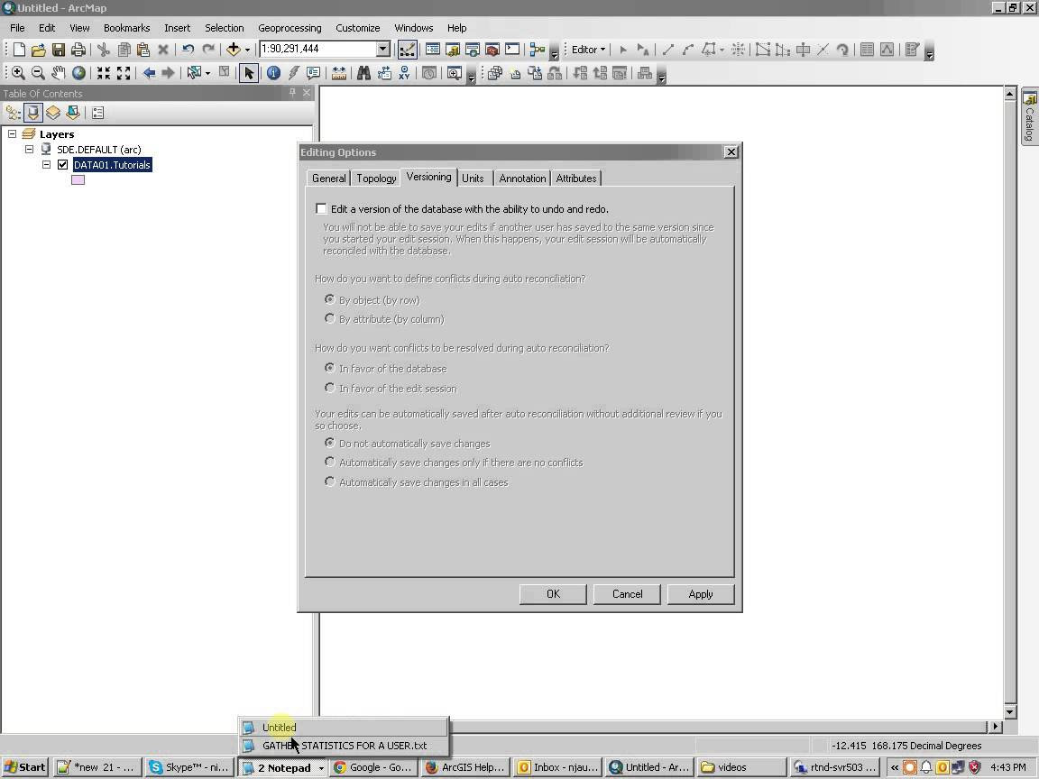 About editing ArcSDE geodatabases