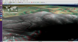 gvSIG Desktop. 3D View: Anaglyph mode