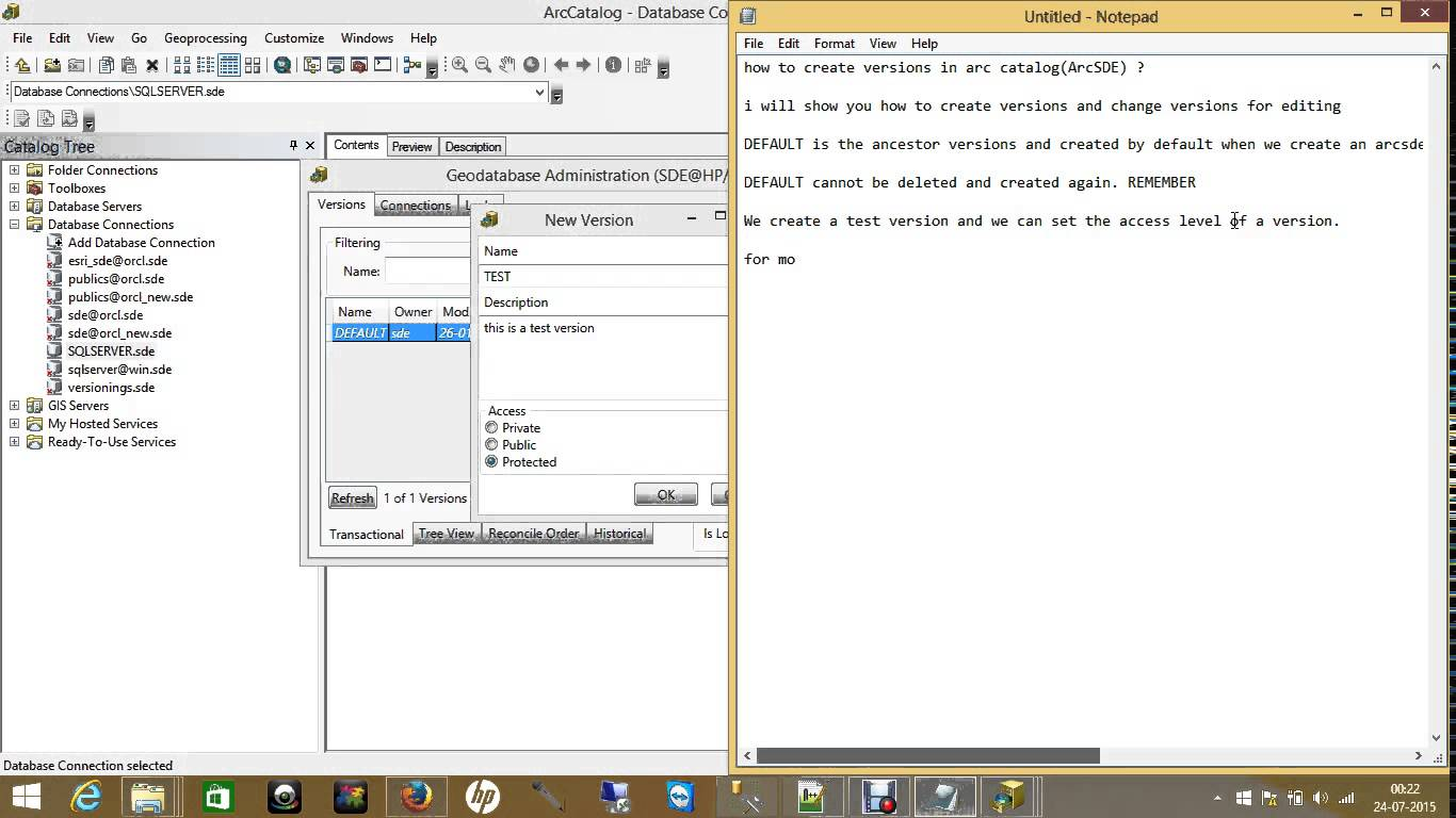 How To Create Versions In ArcMap And ArcCatalog via ArcSDE