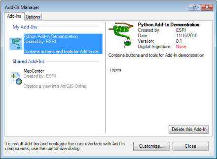 ArcGIS Add-In Manager