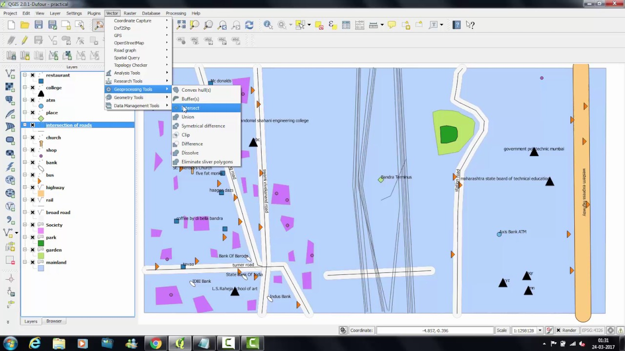 QGIS Tutorial: Use of Geo-processing tools (Intersect)