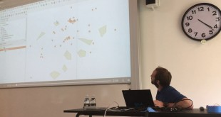 Marco Bernasocchi presenting from desktop to field to web with QGIS