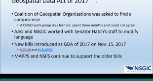 Webinar: Update – The Geospatial Data Act of 2017, Cy Smith, 12/19/17