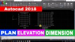 Autocad 2018 Drawing line plan and elevation of building Dimensioning in autocad