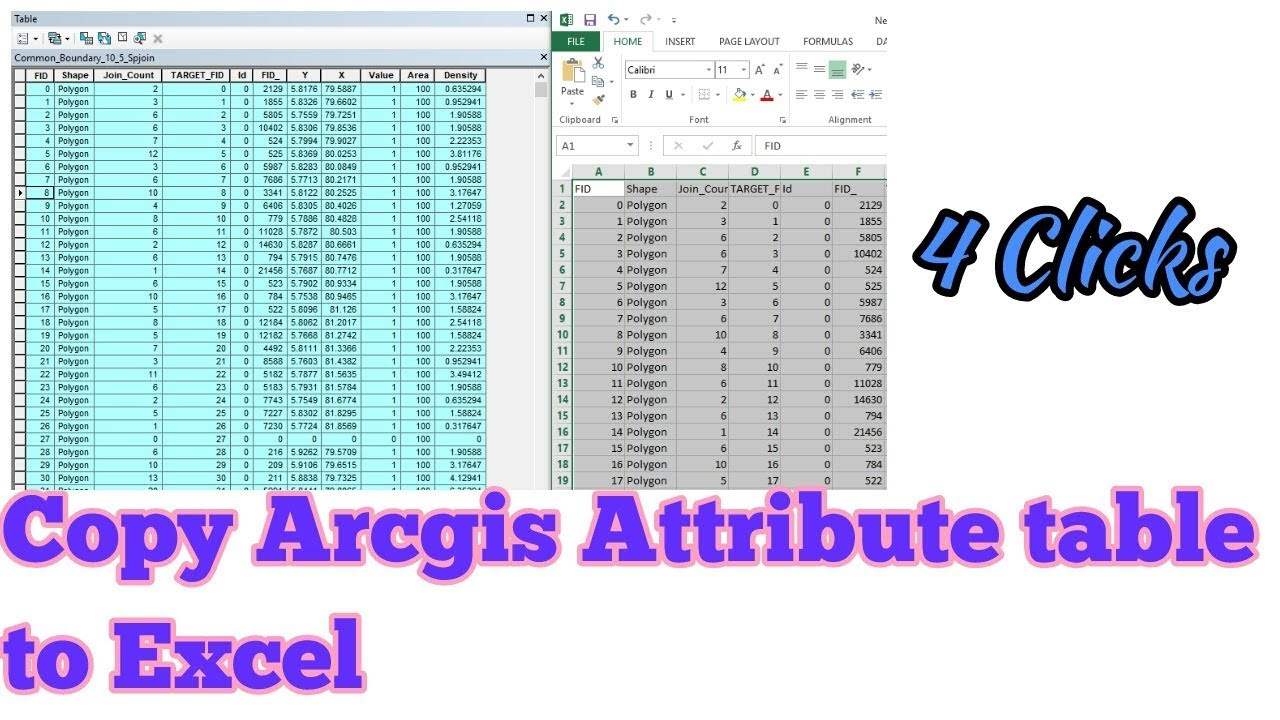Copy arcgis attribute table in to excel for Table attributes
