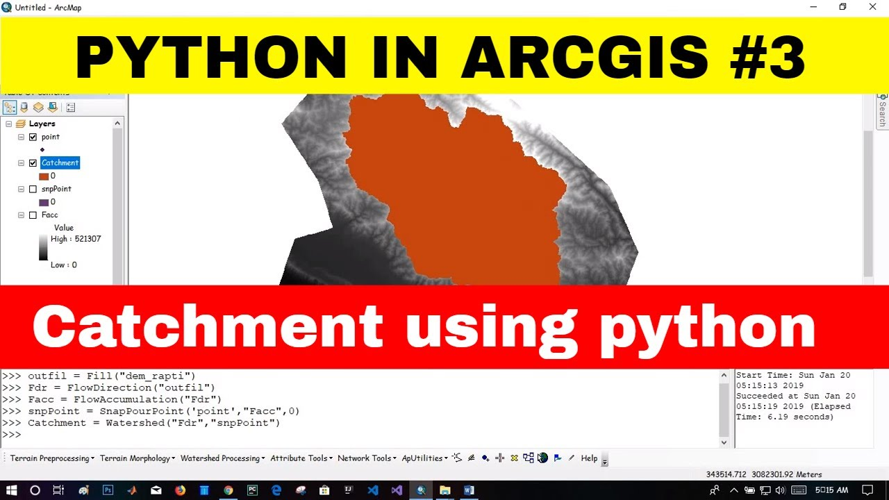 PYTHON IN ARC GIS #3] Delineat Catchment|Wateshed Using PYTHON in